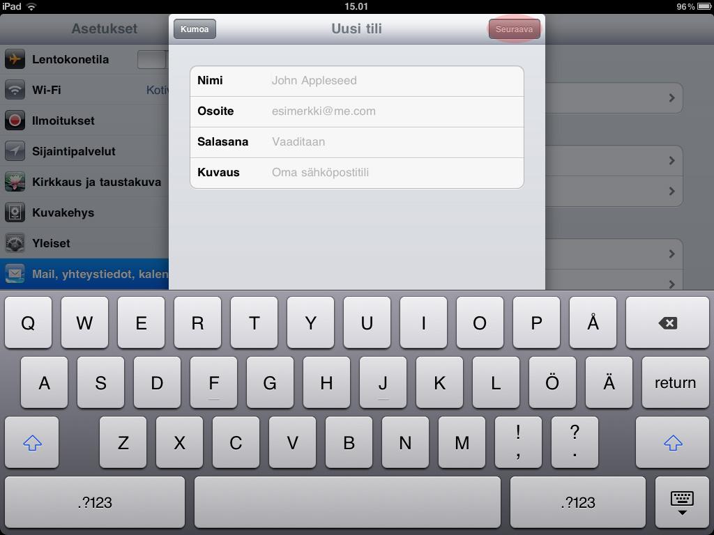 Sähköpostitilin lisääminen iPad ja iPhone laitteisiin