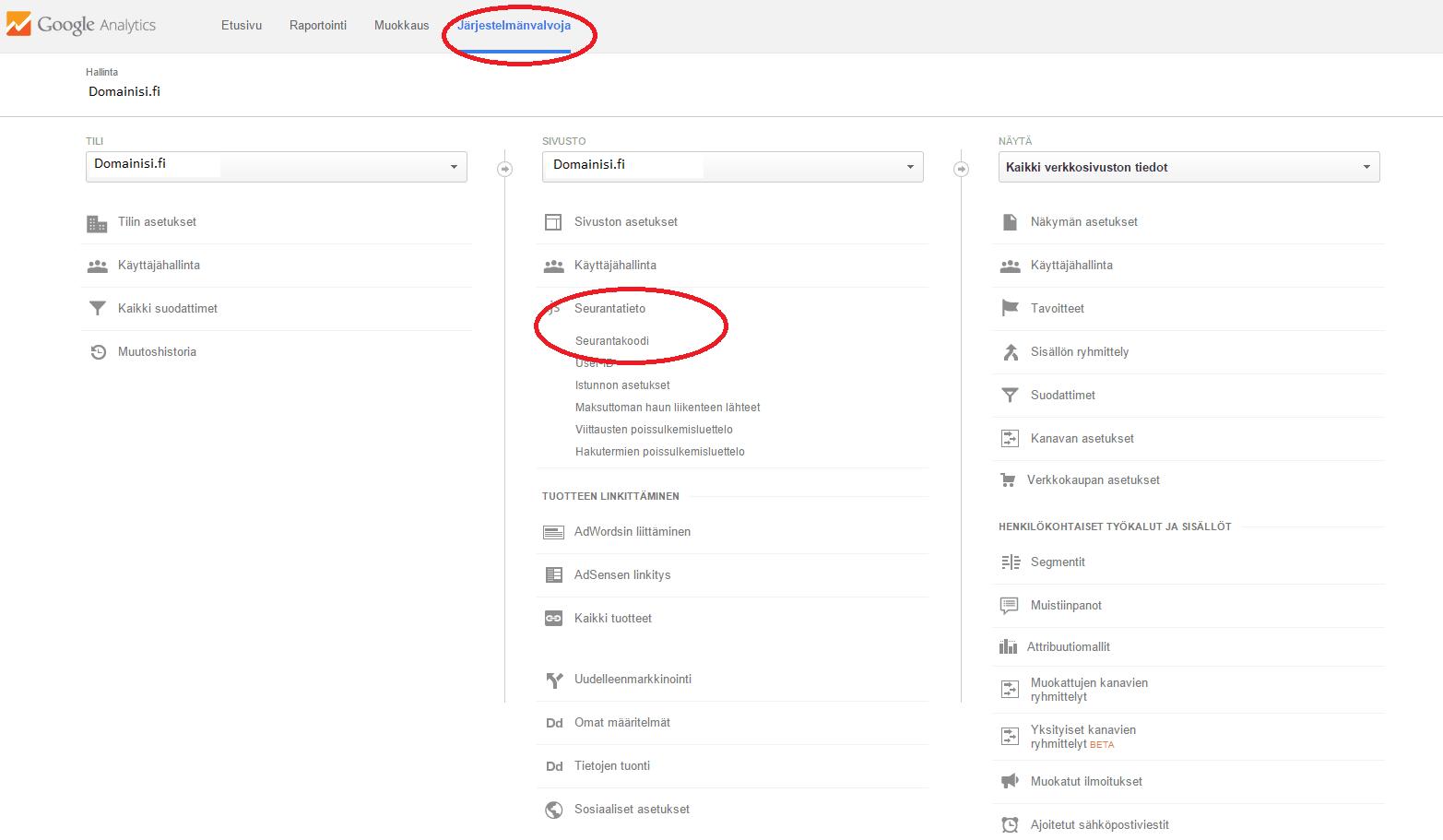 Google Analytics -koodin lisääminen