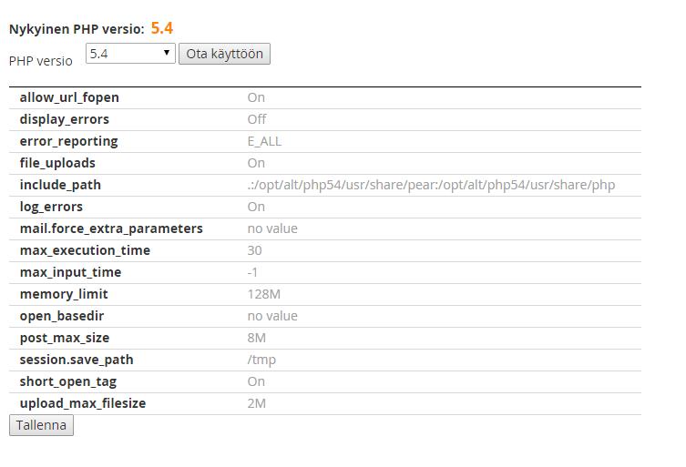 PHP-version vaihtaminen.
