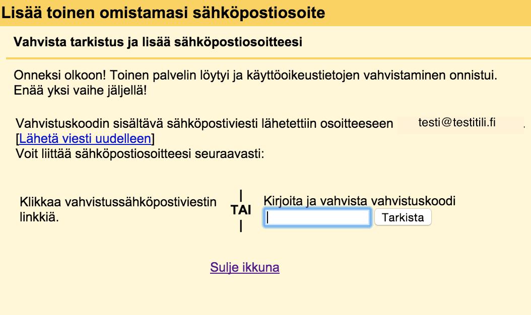 Sähköpostitilin liittäminen gmailiin.