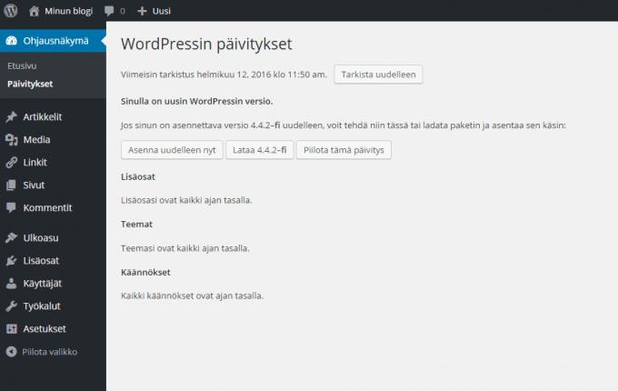 Wordpressin lisäosat ja teemat päivitetty uusimpiin versioihin.