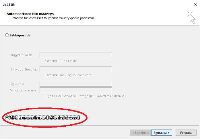 Sähköpostitilin lisääminen Outlook 2016 ohjelmaan