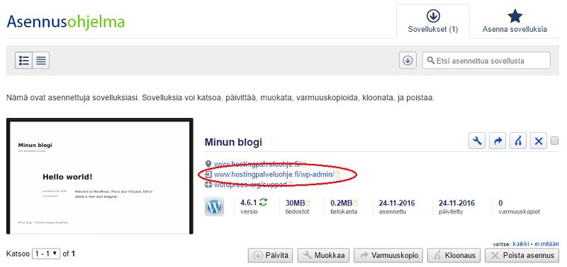 Wordpressin asentaminen asennusohjelmalla