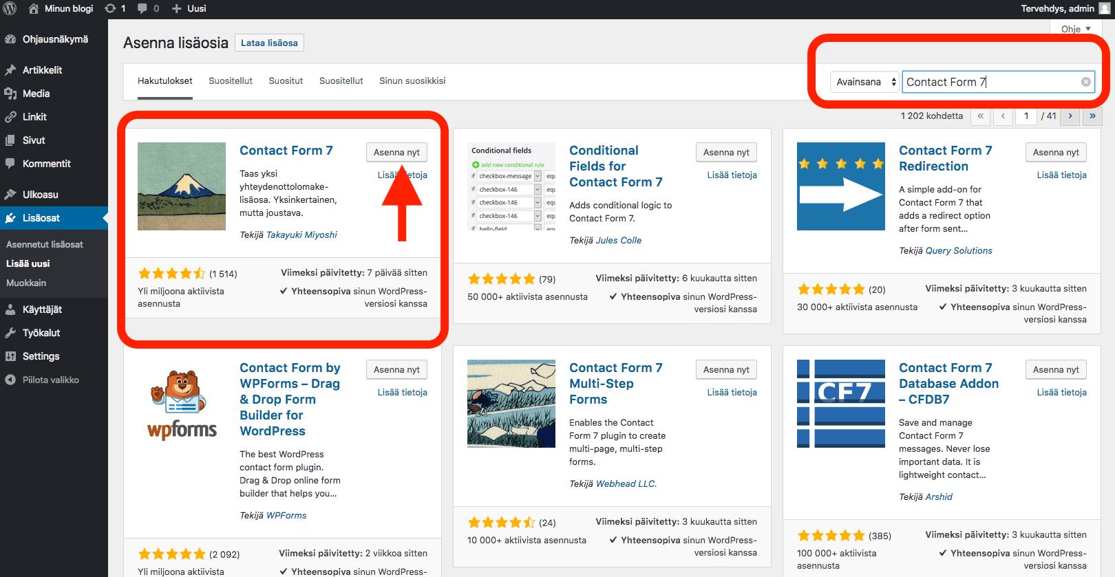 WordPress ohjeet - lisäosien asentaminen