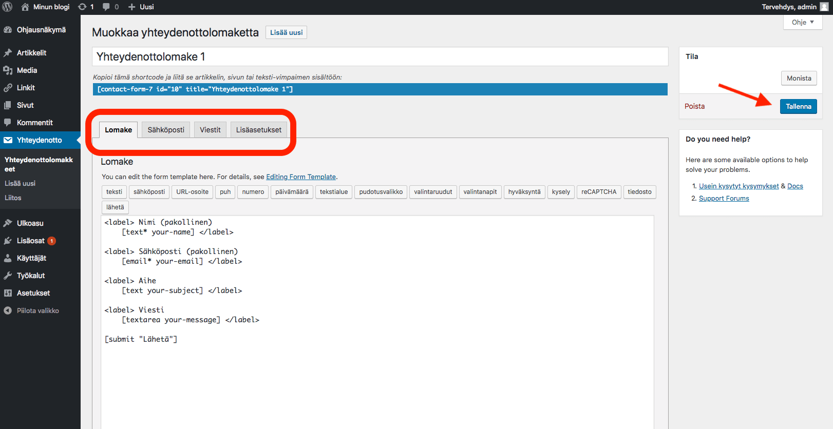 WordPress ohjeet - tallenna lomake