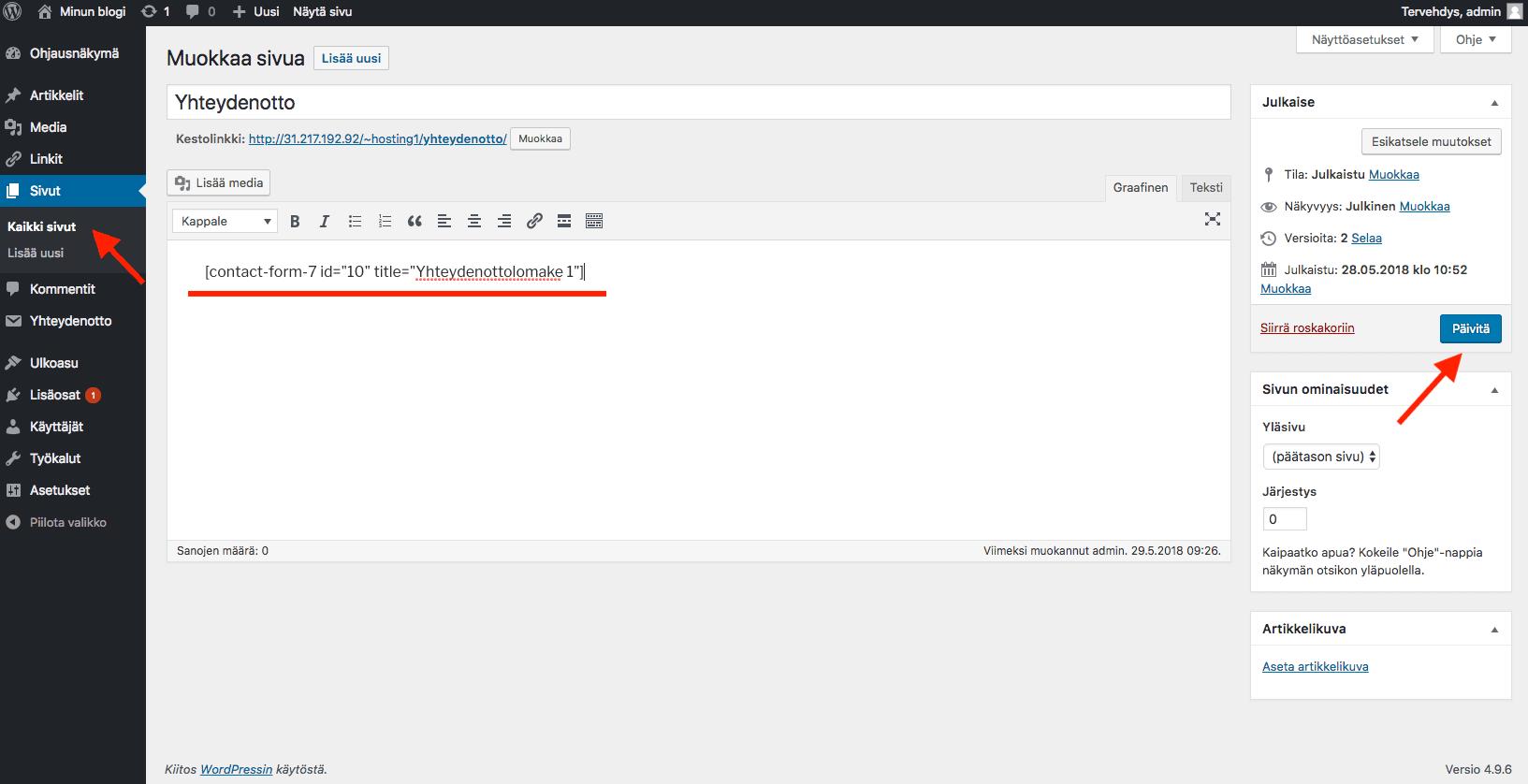 WordPress ohjeet - lomakkeen sijoittaminen sivulle