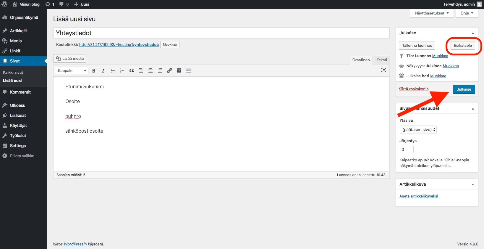 WordPress ohjeet - julkaise sivu