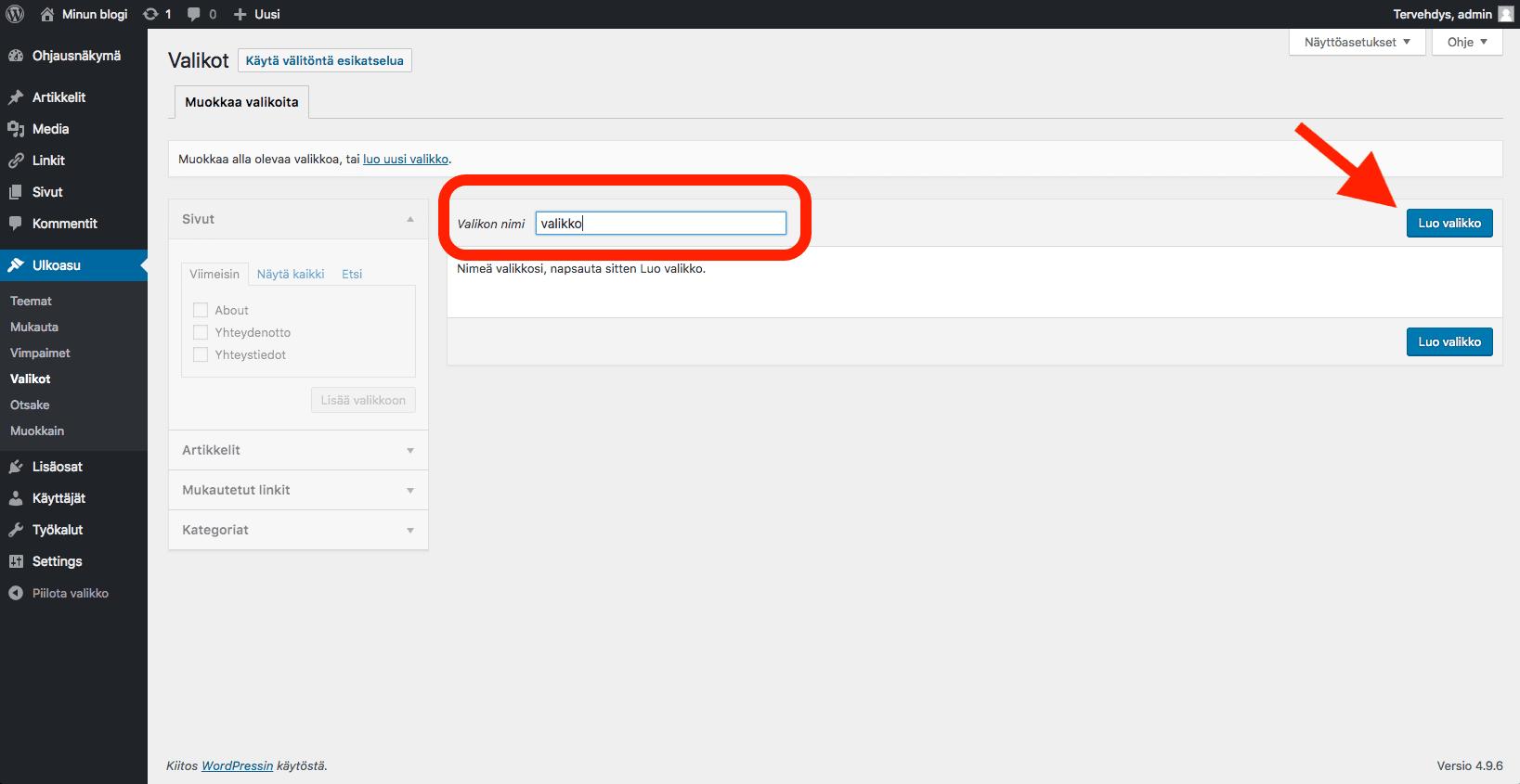 WordPress ohjeet - valikon tekeminen