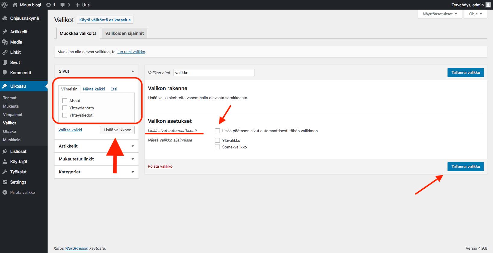 WordPress ohjeet - tallenna valikko