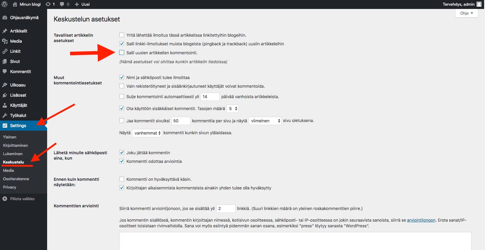 WordPress ohjeet - kommentoinnin poistaminen sivuilta