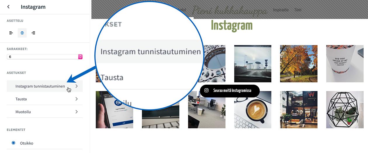 Instagram-asetukset