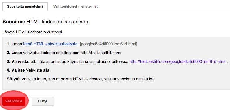 Sivuston vahvistaminen Googleen